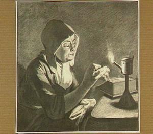 Vrouw die een olielamp aansteekt