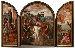 De onthoofding van Johannes de Doper (links), de doop van Christus in de Jordaan (midden), Johannes de Evangelist op Patmos (rechts) (op de buitenzijde in semi-grisaille: de HH. Petrus en Paulus)