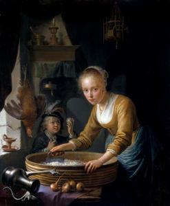 Jonge vrouw, bezig met het hakken van uien