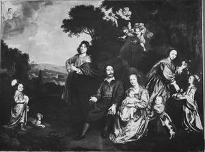 Familieportret van Laurens Ravens (  -1685) en zijn tweede echtgenote Maria van Groenesteijn (  -1660) met hun kinderen in een landschap