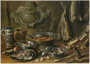 Visstilleven met gedroogde vis, vissoep en aardewerk