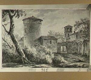 Italianiserend landschap met een klooster of een stad