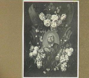 Bloemen en vruchten rond cartouche met daarin een voorstelling van de heilige Petrus