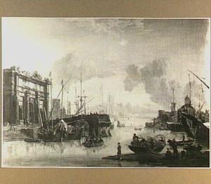 Mediterraan havengezicht met links een ingestorte brug