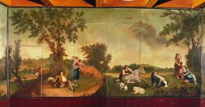 Italianiserend landschap met pastorale scènes