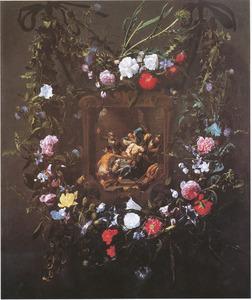Twee bloemguirlandes rondom de doornenkroning van Christus