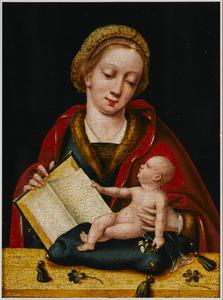 Madonna met het Christuskind voor zich op een kussen, bladerend in een boek