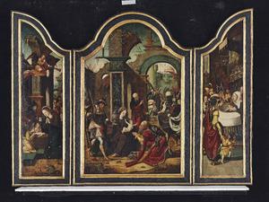 De geboorte (links); De aanbidding van de Wijzen (midden); De presentatie (rechts)