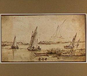 Rivierlandschap met zeilbootjes