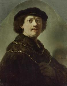 Zelfportret met een zwarte baret