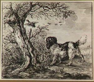 Landschap met jachthond een eend achtervolgend