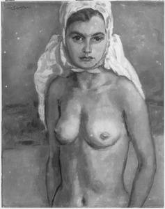 Naakte vrouw met hoofddoek