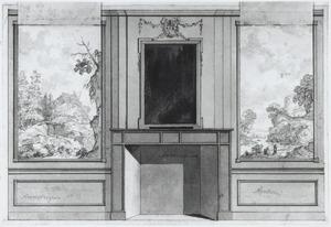 Ontwerp van een behangsel met twee landschappen ter weerszijden van een schoorsteen (met alternatief ontwerp)