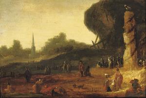 Landschap met de aanbidding van het gouden kalf (Exodus 32:1-25)