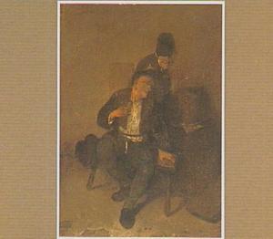 Twee rokende en drinkende boeren in een interieur