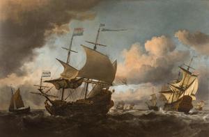 De Hollandse vloot met links 'De Liefde' en rechts 'De Gouden Leeuw'