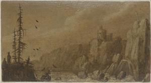 Rotslandschap met waterval en toren