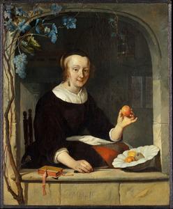 Jonge vrouw met appels in een venster