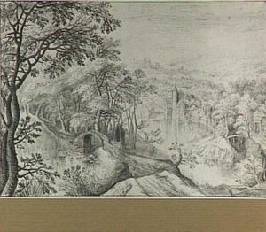 Boomrijk rivierlandschap met kasteel