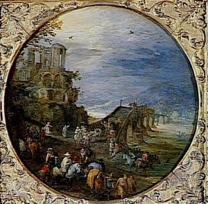 Fantasielandschap met de Vesta-tempel van Tivoli