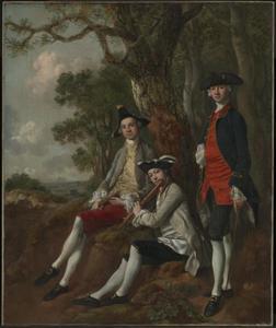 Portret van Peter Darnell Muilman (c. 1725-1766), Charles Crokatt (died 1769) en William Keable (1714?-1774) in een landschap