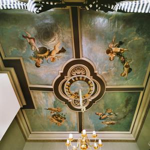 Vijfdelige plafondschildering met de vier seizoenen