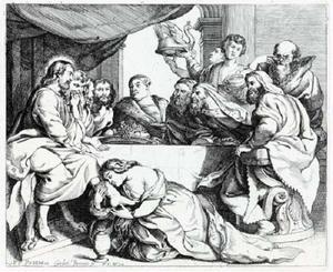 Maria Magdalena zalft de voeten van Jezus