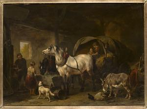Paardenstal met hooiwagen, ezel en schimmel