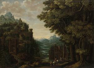 Berglandschap met rivierdal en kastelen