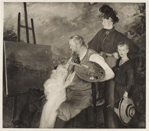 Portret van de kunstenaar Frits Thaulow en familie