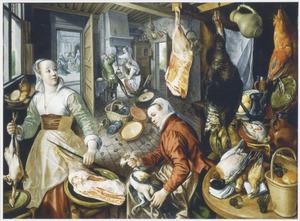 De vier elementen: Vuur: keukeninterieur met in de achtergrond Christus in het huis van Martha en Maria