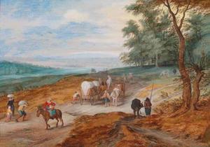 Landschap met reizigers en een huifkar aan een bosrand