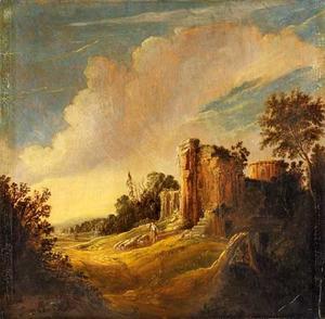 Italianiserend landschap met een schaapsherder en zijn kudde bij klassieke ruïnes