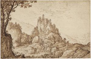 Berglandschap met kasteel en watermolens