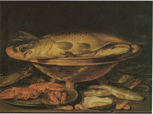 Visstilleven met garnalen en rivierkreeftjes