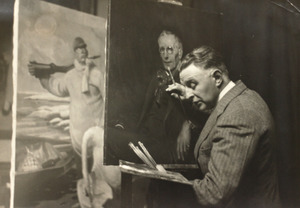 Piet van der Hem werkend aan het portret van politicus Wim Treub (1858-1931)