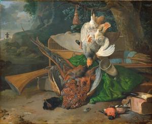 Jachtstilleven met  fazant, patrijs en goudvink