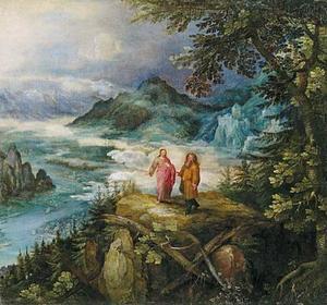 Berglandschap met de verzoeking van Christus (Mattheüs 4: 1-11; Marcus 1: 12-13; Lucas 4: 1-13)
