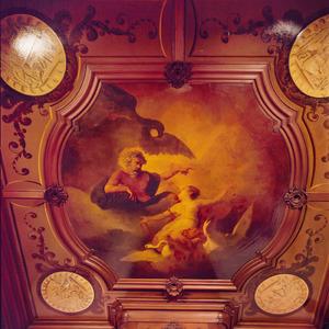 Vijfdelige plafondschildering bestaande uit een middenstuk en vier medaillons