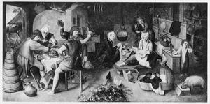 Boerderij-interieur met drinkende mannen en vrouwen die een kind verzorgen: de vette keuken