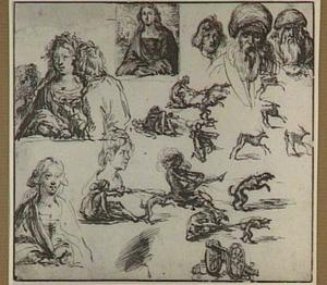 Studies van figuren, koppen, dieren en een kanon
