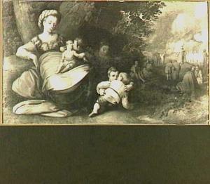 Caritas: allegorische vrouwenfiguur met op de achtergrond de prediking van Johannes de Doper
