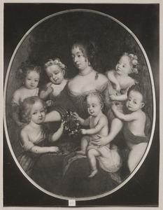 Portret van Henriette Catharina van Oranje Nassau (1637-1708) en zes kinderen