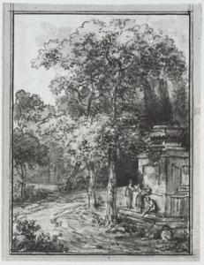 Boslandschap met figuren bij een monument