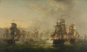 Het treffen tussen de Hollandse en de Engelse vloot tijdens de tocht van de Hollandse flottielje naar Boulogne, 1805