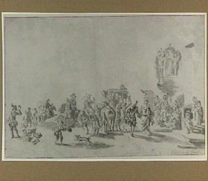 Jagers, galante figuren en een koets bij een bordes