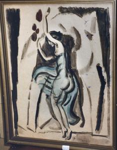 Dansende vrouw in blauwe doorschijnende jurk