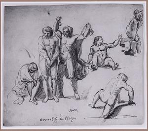 Naakte mannen bij het baden