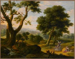 Boslandschap met de engel, die Hagar de bron wijst in de wildernis (Genesis 21:14-21)
