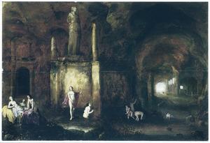 Grotinterieur met Diana en haar nimfen bij een grafmonument, op de achtergrond de wegvluchtende Actaeon